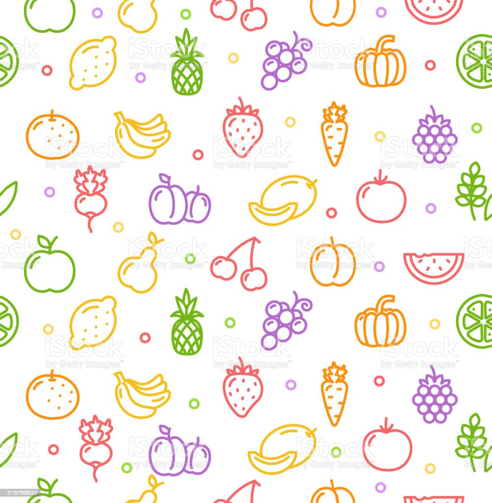 fruits and vegetables background pattern vector stock