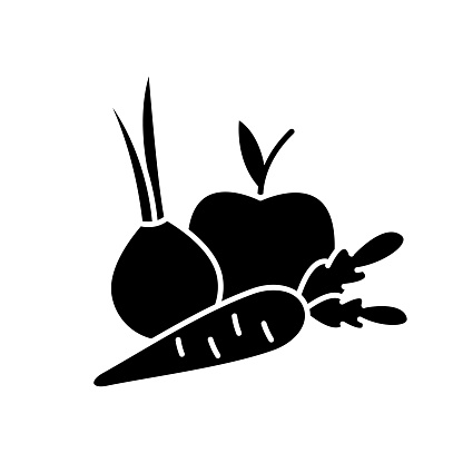 Fruits and vegetables black glyph icon