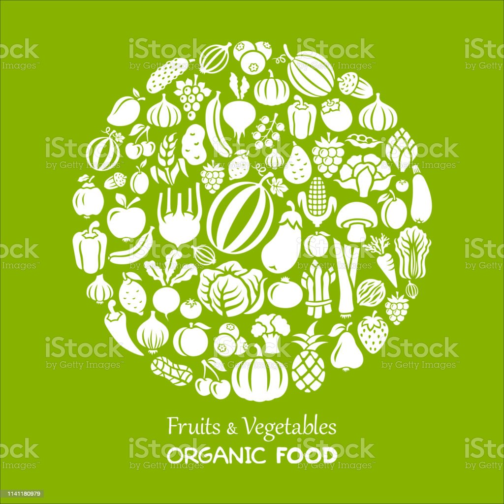 Fruits and Vegetables Collage Fruits and Vegetables. Organic Food Agriculture stock vector