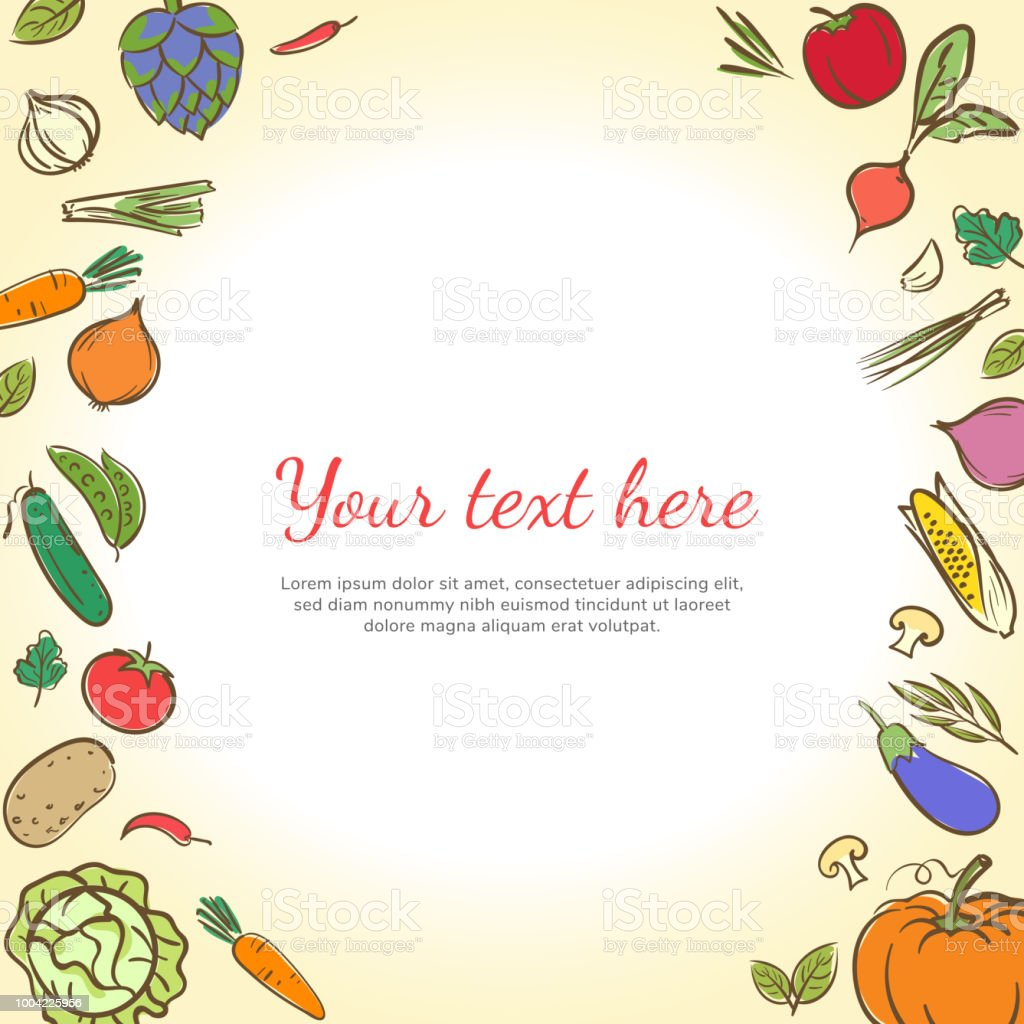 fruits and vegetables cute banner background template with copy
