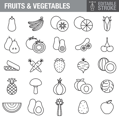 Fruits and Vegetables Editable Stroke Icon Set