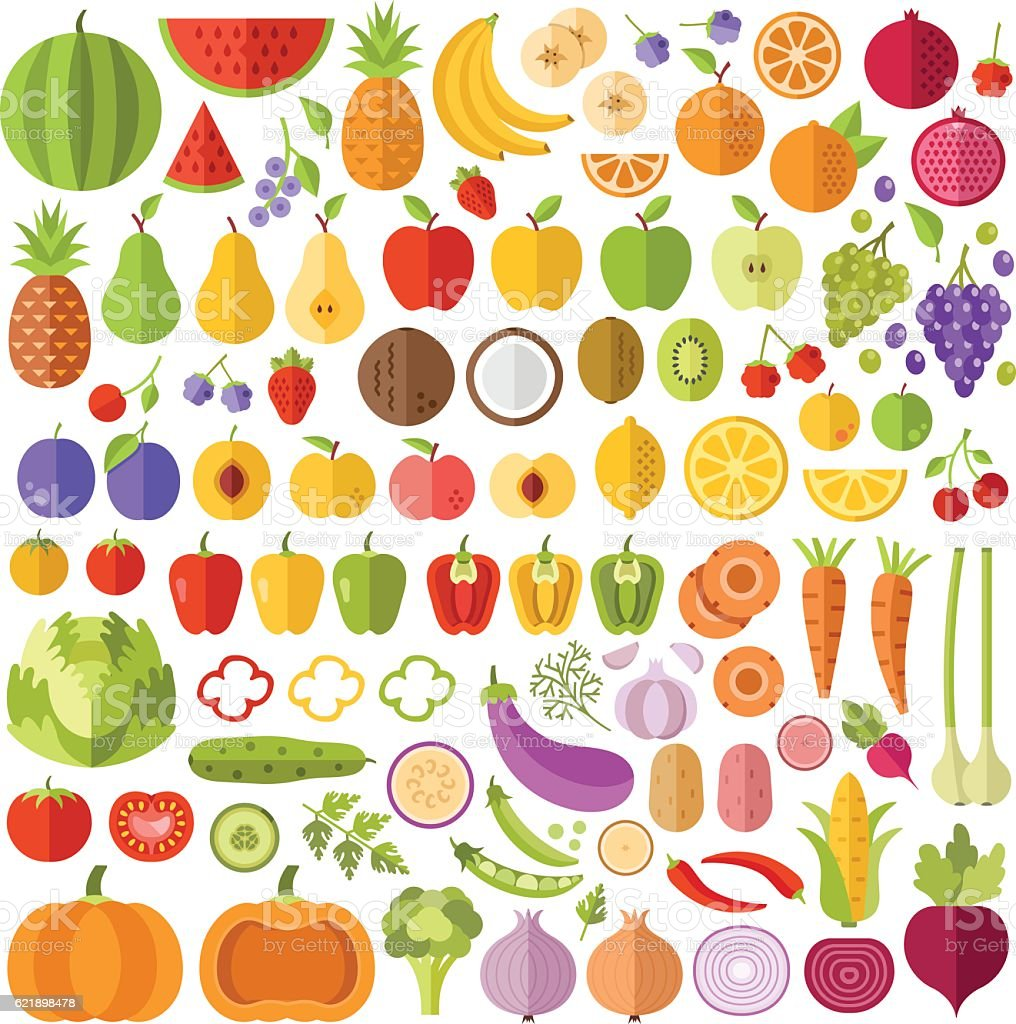 Fruits and vegetables flat icons set. Vector icons, vector illustrations - Illustration vectorielle