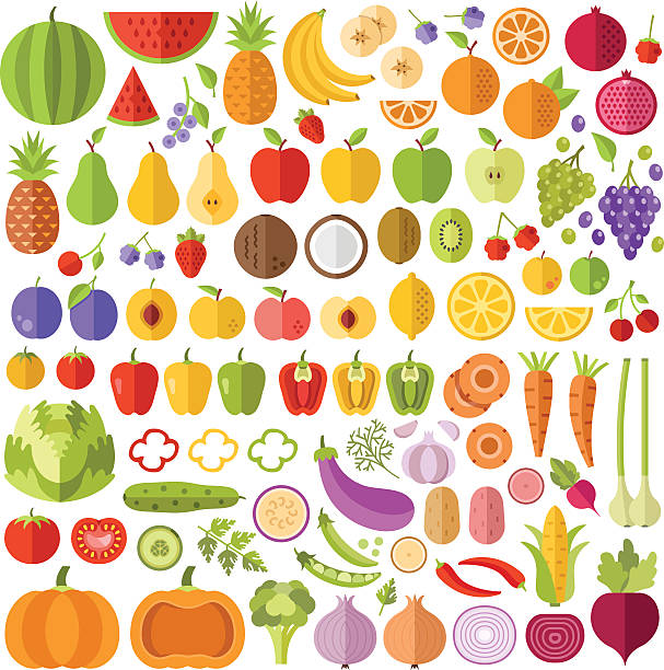 fruits and vegetables flat icons set. vector icons, vector illustrations - obst stock-grafiken, -clipart, -cartoons und -symbole