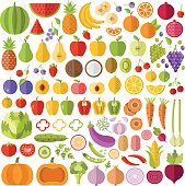 Fruits and vegetables flat icons set. Vector icons, vector illustrations