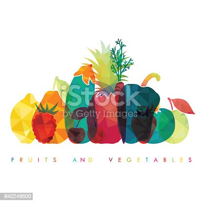 istock Fruits and vegetables. Healthy food. Vector illustration 640249500