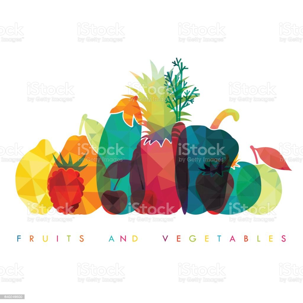 Fruits and vegetables. Healthy food. Vector illustration – Vektorgrafik