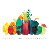 Fruits and vegetables. Healthy food. Vector illustration