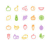 Fruits and Vegetables Icon Set. Vector