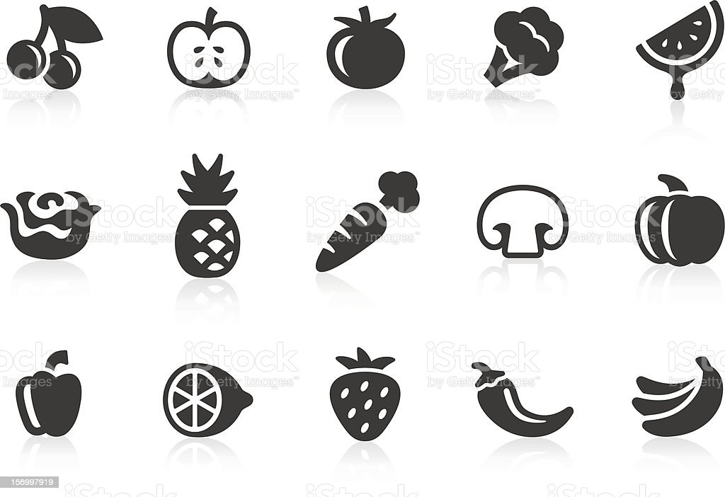 Fruits and Vegetables icons 1 Monochromatic fruits and vegetables related vector icons for your design and application. Raw style. Files included: vector EPS, JPG, PNG. Agriculture stock vector