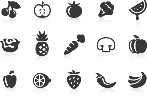 Fruits And Vegetables Icons 1 Stock Illustration - Download Image Now