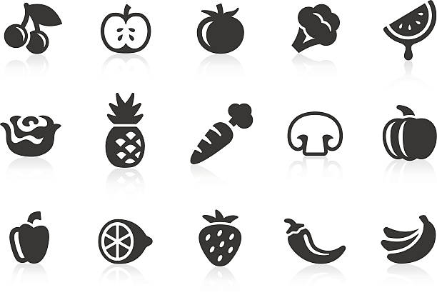 fruits and vegetables icons 1 - cherry tomato stock illustrations