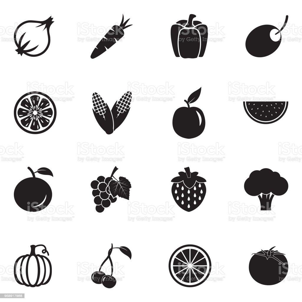 Fruits And Vegetables Icons. Black Flat Design. Vector Illustration. vector art illustration