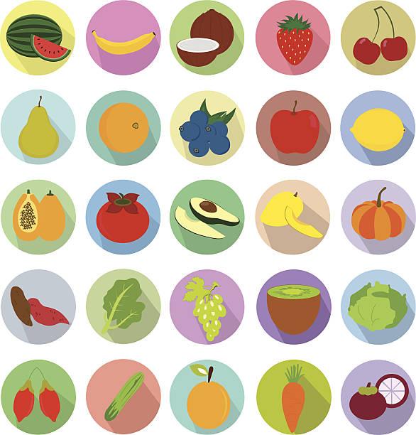 Obst und Gemüse-Icons set.  Illustration eps10 – Vektorgrafik