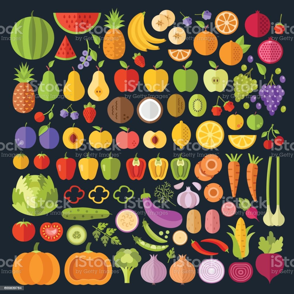 Fruits and vegetables icons set. Modern flat design graphic art for web banners, websites, infographics. Whole and sliced vegetables and fruit icons. Vector illustration