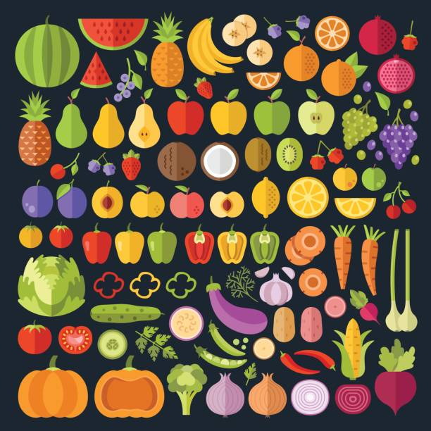 fruits and vegetables icons set. modern flat design graphic art for web banners, websites, infographics. whole and sliced vegetables and fruit icons. vector illustration - fruit icon stock illustrations, clip art, cartoons, & icons