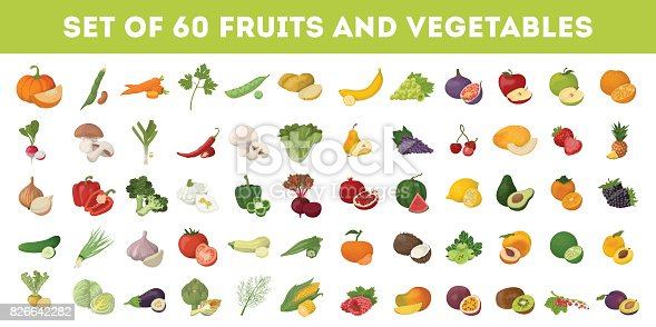 Fruits and vegetables icons set. Apples and bananas, tomatoes and cucumbers and more.