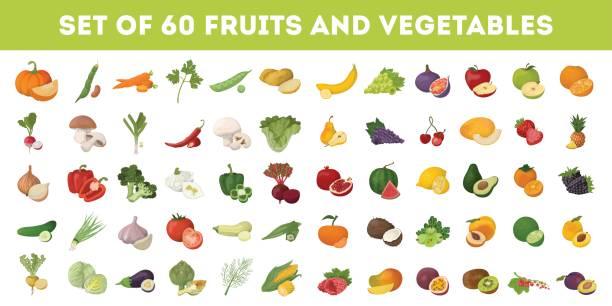 illustrations, cliparts, dessins animés et icônes de fruits et légumes ensemble d'icônes. - fruit
