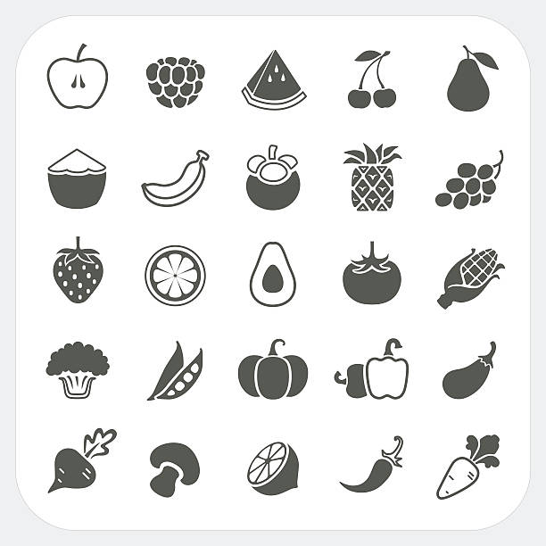 Fruits and Vegetables Icons with frame background Fruits and Vegetables Icons with frame background, EPS10, Don't use transparency. avocado silhouettes stock illustrations