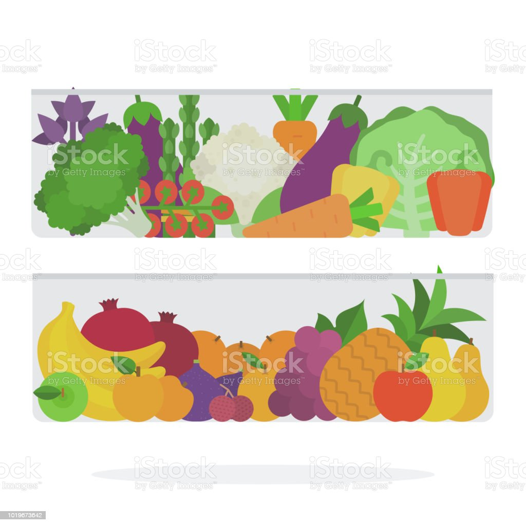 Fruits and vegetables in the refrigerator drawer vector flat material...