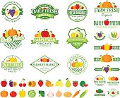 Set of fruit and vegetables labels templates. Fruit and vegetables labels with sample text. Fruits and vegetables icons for groceries, agriculture stores, packaging and advertising. Vector label design.