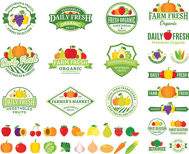 Fruits and Vegetables Labels, Fruits and Vegetables Icons Set of fruit and vegetables labels templates. Fruit and vegetables labels with sample text. Fruits and vegetables icons for groceries, agriculture stores, packaging and advertising. Vector label design. avocado silhouettes stock illustrations