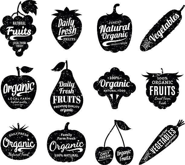 Fruits and Vegetables Labels, Icons and Design Elements Vector fruit and vegetables labels. Fruit and vegetables silhouettes with lettering. Fruits and vegetables icons for groceries, agriculture stores, packaging and advertising. Vector labels design. fruit silhouettes stock illustrations