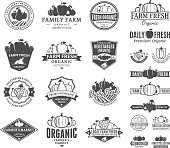 Set of fruit and vegetables labels. Fruit and vegetables labels with sample text. Fruits and vegetables icons for groceries, agriculture stores, packaging and advertising.