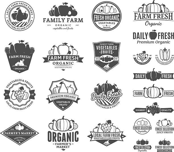 Fruits and Vegetables Labels, Icons and Design Elements Set of fruit and vegetables labels. Fruit and vegetables labels with sample text. Fruits and vegetables icons for groceries, agriculture stores, packaging and advertising. avocado silhouettes stock illustrations