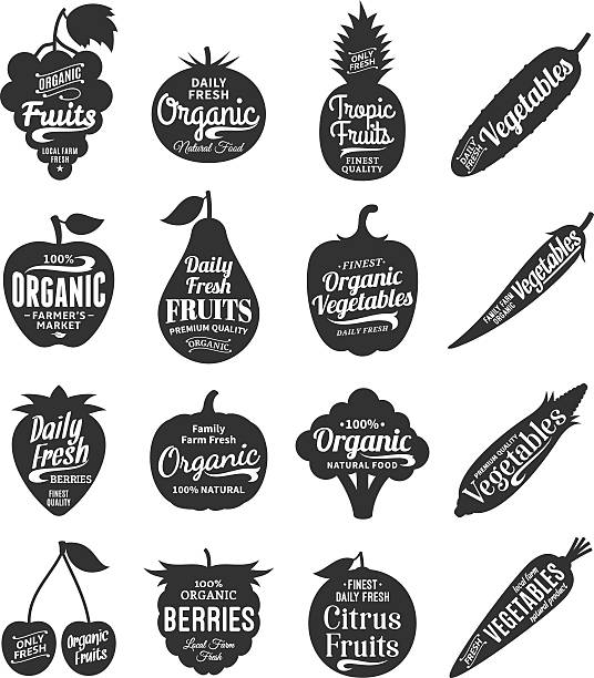Fruits and Vegetables Labels, Icons and Design Elements Vector fruit and vegetables labels. Fruit and vegetables silhouettes with lettering. Fruits and vegetables icons for grocery, food shop, organic product label, packaging and advertising. Food labels design. fruit silhouettes stock illustrations