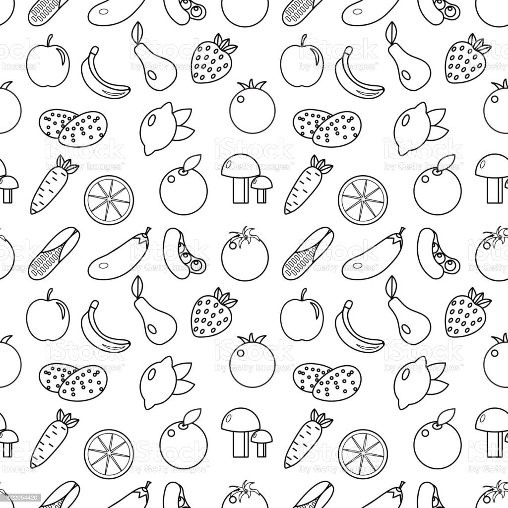 fruits and vegetables line style seamless pattern royalty free stock vector art