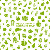 Fresh fruits and vegetables. Seamless pattern.