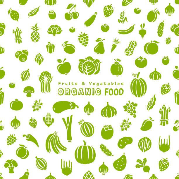 illustrazioni stock, clip art, cartoni animati e icone di tendenza di fruits and vegetables. organic food. - organic food