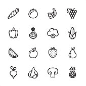 16 line black on white icons / Set #59 Pixel Perfect Principle - all the icons are designed in 48x48pх square, outline stroke 2px.  First row of outline icons contains:  Carrot, Tomato, Bananas, Grape icon;  Second row contains:  Bell pepper, Onion, Broccoli, Corn Crop;  Third row contains:  Watermelon, Apple, Strawberry, Pear;   Fourth row contains:  Turnip, Garlic, Champignon, Pineapple.
