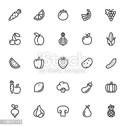 Fruits and Vegetables - 25 Outline Style - Single black line icons - Pixel Perfect / Pack #49 Icons are designed in 48x48pх square, outline stroke 2px.  First row of outline icons contains: Carrot, Orange Slice, Tomato, Bananas, Grape icon;  Second row contains: Cherry, Apricot, Onion, Apple, Corn;    Third row contains: Watermelon, Bell Pepper, Strawberry, Potato, Cucumber;  Fourth row contains: Carrot & Apple, Lemon, Broccoli, Eggplant, Pumpkin;  Fifth row contains: Turnip, Garlic, Champignon, Pear, Pineapple.  Complete Grandico collection - https://www.istockphoto.com/collaboration/boards/FwH1Zhu0rEuOegMW0JMa_w