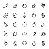 Fruits and Vegetables - 25 Outline Style - Single black line icons - Pixel Perfect / Pack #49\nIcons are designed in 48x48pх square, outline stroke 2px.\n\nFirst row of outline icons contains:\nCarrot, Orange Slice, Tomato, Bananas, Grape icon;\n\nSecond row contains:\nCherry, Apricot, Onion, Apple, Corn;  \n\nThird row contains:\nWatermelon, Bell Pepper, Strawberry, Potato, Cucumber;\n\nFourth row contains:\nCarrot & Apple, Lemon, Broccoli, Eggplant, Pumpkin;\n\nFifth row contains:\nTurnip, Garlic, Champignon, Pear, Pineapple.\n\nComplete Grandico collection - https://www.istockphoto.com/collaboration/boards/FwH1Zhu0rEuOegMW0JMa_w