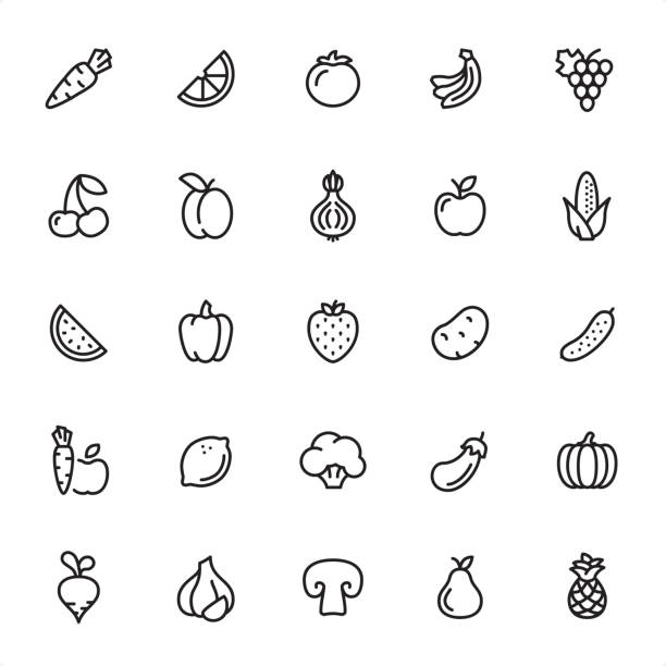 Fruits and Vegetables - Outline Icon Set Fruits and Vegetables - 25 Outline Style - Single black line icons - Pixel Perfect / Pack #49 Icons are designed in 48x48pх square, outline stroke 2px.  First row of outline icons contains: Carrot, Orange Slice, Tomato, Bananas, Grape icon;  Second row contains: Cherry, Apricot, Onion, Apple, Corn;    Third row contains: Watermelon, Bell Pepper, Strawberry, Potato, Cucumber;  Fourth row contains: Carrot & Apple, Lemon, Broccoli, Eggplant, Pumpkin;  Fifth row contains: Turnip, Garlic, Champignon, Pear, Pineapple.  Complete Grandico collection - https://www.istockphoto.com/collaboration/boards/FwH1Zhu0rEuOegMW0JMa_w fruit icons stock illustrations