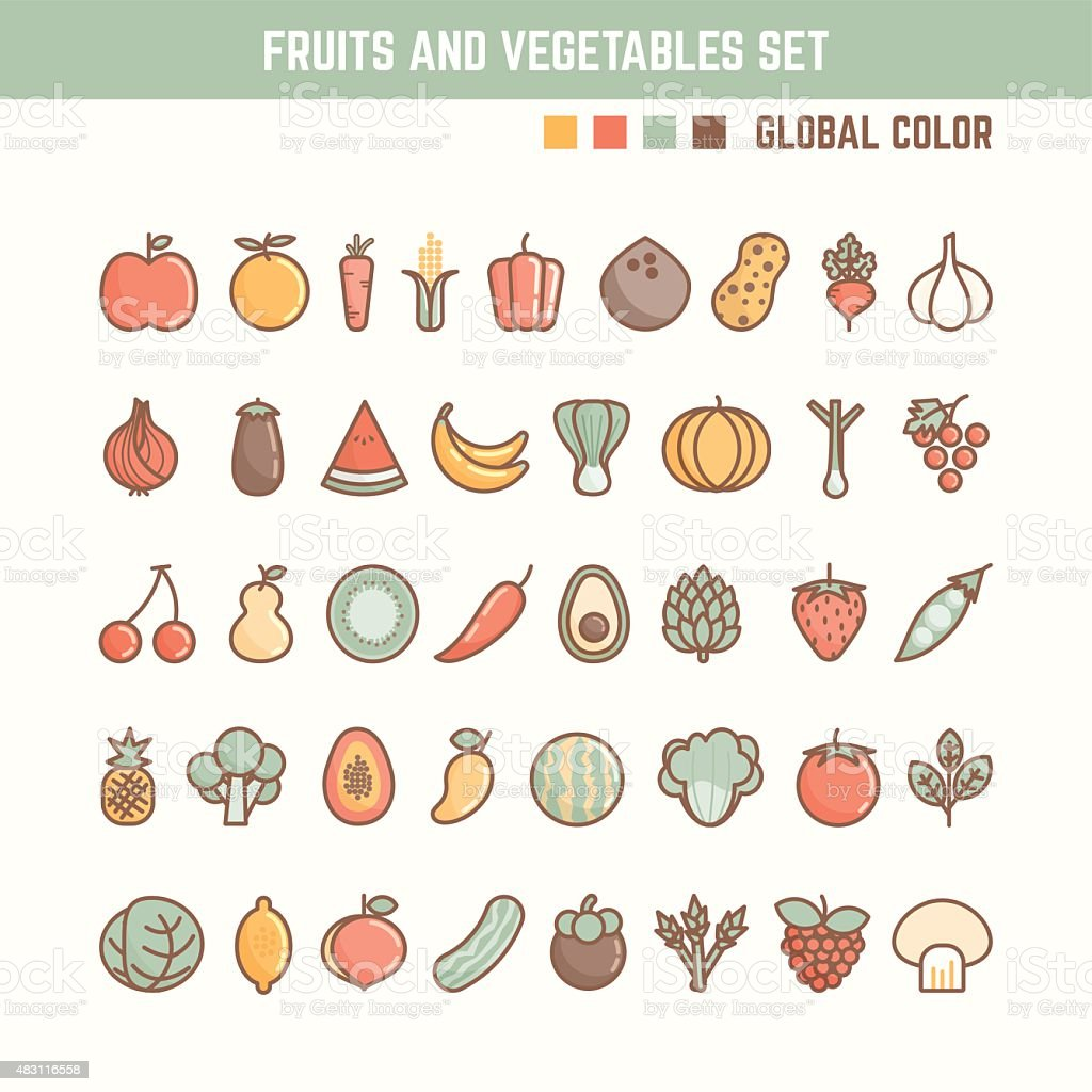 fruits and vegetables outline icon set royalty free stock vector art