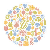 Fruits and Vegetables round composition