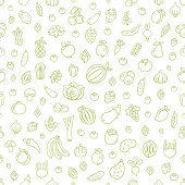 istock Fruits and Vegetables. Seamless Pattern 1145430255