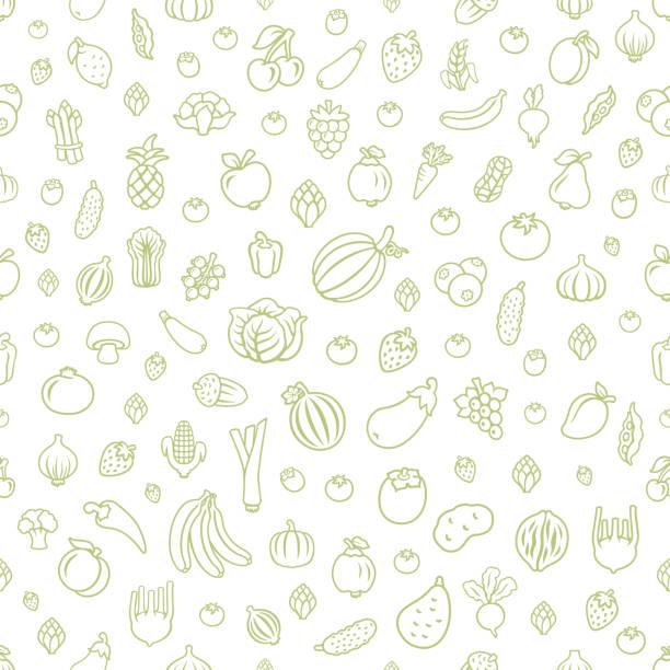 ilustrações de stock, clip art, desenhos animados e ícones de fruits and vegetables. seamless pattern - food