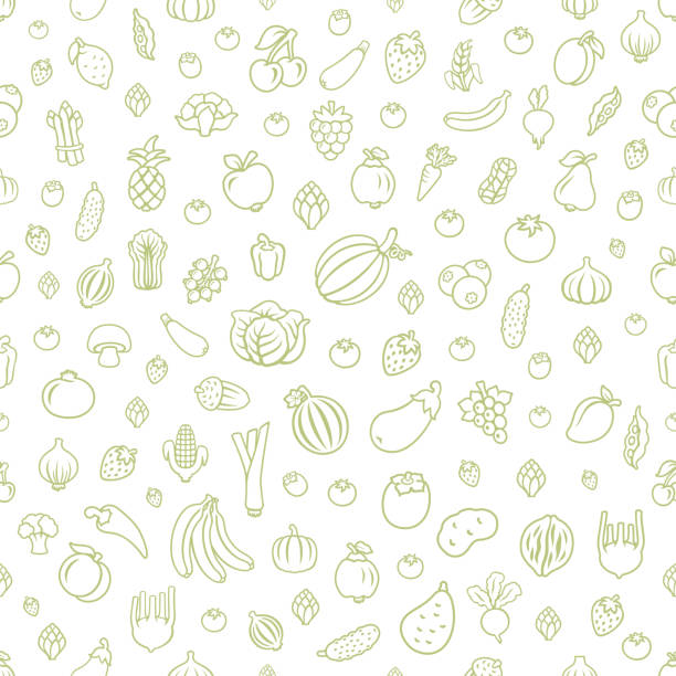 Fruits and Vegetables. Seamless Pattern Fruits and Vegetables. Seamless Pattern fruit backgrounds stock illustrations