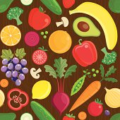 Various fruits and vegetables on a wood grain background.
