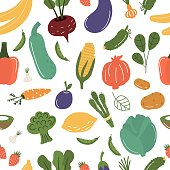 Fruits and vegetables seamless pattern vector illustration. Hand drawn organic vegetarian healthy food. Fresh natural market nutrition. Shopping grocery vegetable and fruit. Summer harvesting