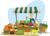 Fruits and vegetables seller man character