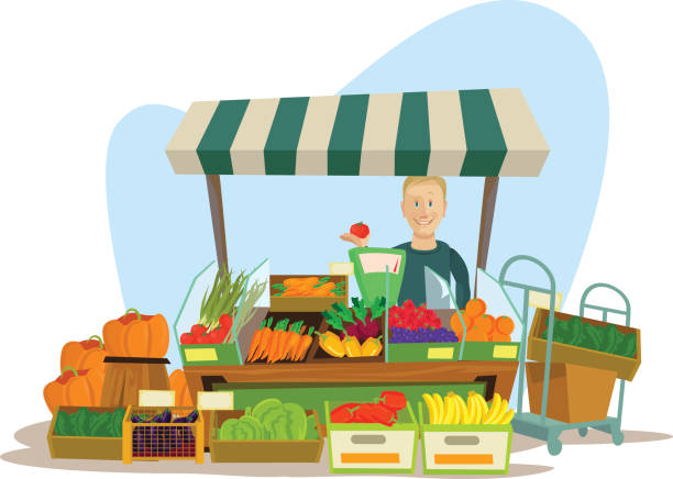 stockillustraties, clipart, cartoons en iconen met fruits and vegetables seller man character - markt