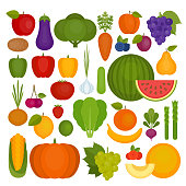 Fruits and vegetables set. Organic and healthy food. Flat style, vector illustration.