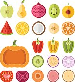 Fruits and vegetables slices set. Flat vector slices icons set