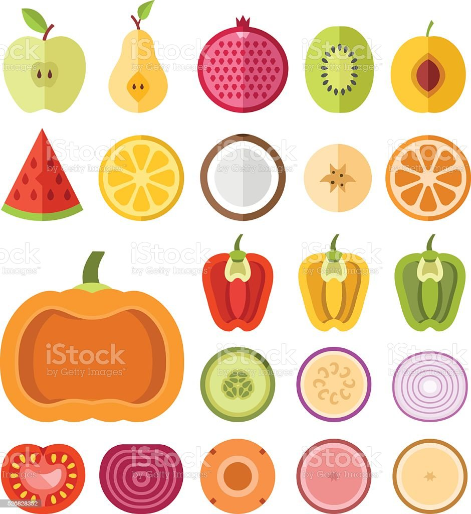 Fruits and vegetables slices set. Flat vector slices icons set vector art illustration