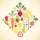 Various Fruits and Vegetables on a textured background. Layered file.