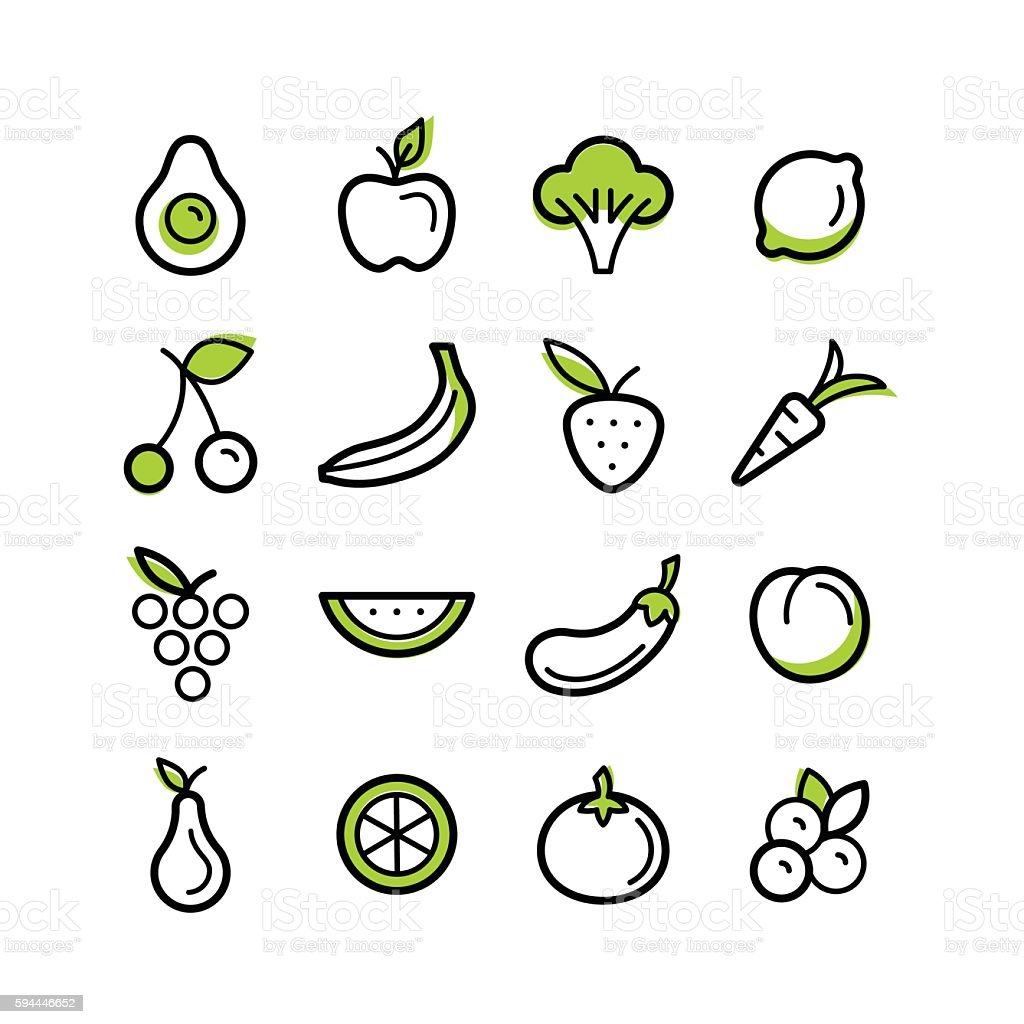 Fruits et légumes  - Illustration vectorielle